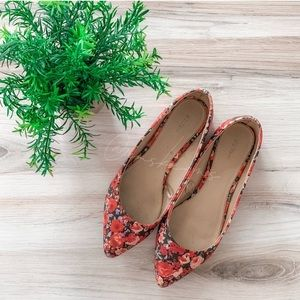 Express Floral Pointed Toe Flats